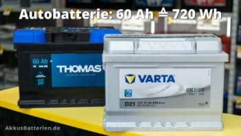 60 Ah Autobatterie entspricht 720 Wattstunden