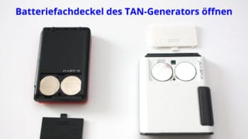 Batteriefachdeckel des TAN-Generators öffnen