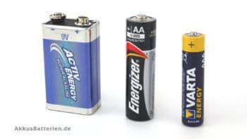 Batterien, 9V Block, Mignon AA, Micro AAA
