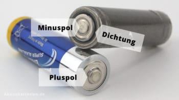 Plus- und Minuspol der Mignon-Batterien